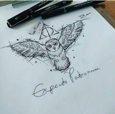 Tatto Harry Potter, Harry Potter Sketch, Arte Do Harry Potter, Harry Potter Drawings, Harry Potter Tumblr, Harry Potter World, Tattoo Sketches, Tattoo Drawings, Art Sketches