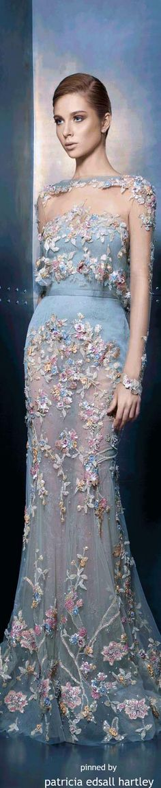 Ziad Nakad Haute Couture 2015 blue floral Luxury, fashion, weddings, bridal style, décor, travel, art, design,