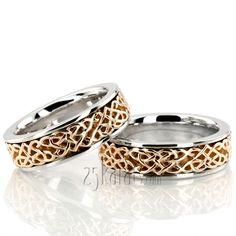 Celtic Heart Handcrafted Wedding Ring Set #weddingband #ring #25karats