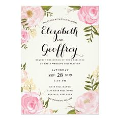 Modern Vintage Floral Wedding Invitation | Romance Garden Wedding Stationery Suite | Elegant light pink wedding invitation with hand drawn pink roses, pink flowers, pink peonies, purple peonies, beige flowers, dark green leaves and twigs in watercolor hand painted style.