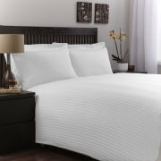Charlotte Thomas Satin Stripe Duvet Cover Set in White