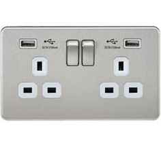White Insert A5 Light Switch Double 2 Gang Satin Brushed Chrome Classic Plastic Rocker Switches 10A 1 Gang 2 Way