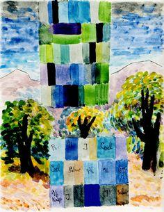 Farben einer Landschaft (Colors of a Landscape), 1946, watercolour, 34 x 24 cm WV769 Itten-Archiv Zurich Walter Gropius, Bauhaus, Painting, Design, Art, Weimar, Archive, Landscape, Colors