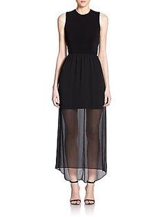 Alice   Olivia Petal Sheer-Skirt Criss Cross-Back Dress