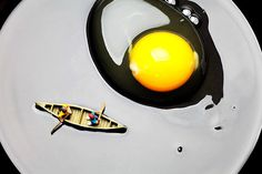 Boating Around Egg Little People On Food, creative photography, amazing food art, whimsical world, Home decor idea.