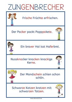 Some tongue twisters that are a little easier for new German… Primary School, Elementary Schools, Kindergarten Portfolio, German Grammar, Tongue Twisters, German Language Learning, Reading Practice, Learn German, Special Education