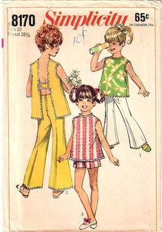 1960s Simplicity 8170 Vintage Sewing Pattern Girls Long Pants