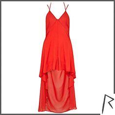 Red Rihanna dip hem culotte dress - River Island
