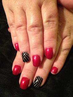 Simple Tape Accent Nail Art on this Ravishing Red Mani #jessicasnaildesigns #nails #nailart #nailartist #manicure #beauty #rednails #tapemani  For more of my Nail Creations please Find, Follow and Like my Business Facebook (Jessicas Nail Designs), Instagram (@jessicasnaildesigns), Pinterest (#jessicasnaildesigns), Website (www.jessicasnaildesigns.webs.com), Twitter (@Jess Liu Brown) Thank-you - Jessica <3