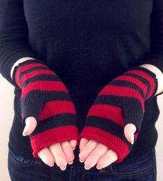 KNIT FINGERLESS MITTENS by Pointelle Designs | Keep your hands toasty with warm, striped fingerless mittens carefully crafted from 100% American wool.