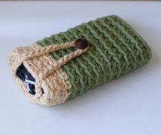 Cell Phone Case, Crochet iPhone or Blackberry Cell Phone Case or Cover Sleeve with Earphone Storage Room. $10.00, via Etsy.