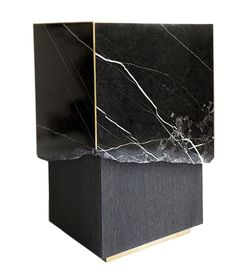 Meta End Table in Black Marble, Dyed Solid White Oak with Brass Details In Excellent Condition For Sale In Brooklyn, NY Design Furniture, Cool Furniture, Furniture Chairs, White Furniture, Furniture Stores, Pallet Furniture, Midcentury Modern, Transitional Coffee Tables, Contemporary Side Tables