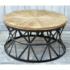 Translating into a Soho industrial decor or the vintage style of a French interior, our Coffee Table combines rustic materials with an urban edge. Industrial Style Coffee Table, Round Wood Coffee Table, Iron Coffee Table, Wooden Table Top, Industrial Design Furniture, Unique Coffee Table, Round Table Top, Coffee Table Design, Home Decor Furniture