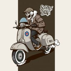 Skeleton riding a scooter Premium Vector