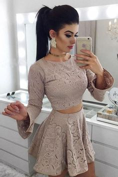 Two Piece A-Line Round Neck Long Sleeves Grey Lace Short Homecoming Dress Skirt Outfits, Sexy Outfits, Chic Outfits, Dress Skirt, Girl Fashion, Fashion Dresses, Short Dresses, Prom Dresses, Long Sleeve Homecoming Dresses