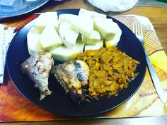 First meal home in Ghana after flying for 20 hours. Fried fish garden egg stew (relative if eggplant) and West African yams. Life is sweet. http//:nanayawdesigns.com (link in bio) #fashion #accessories #menwithstyle #waxprint #ankara #style #ghana #saturday