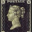 May 6, 1840 The postage stamp was invented in England in 1837 by a schoolmaster named Rowland Hill. Because of his efforts, for which he was knighted, the first postage stamp was issued on May 6, 1840. The British Penny Black stamp was engraved with the profile of Queen Victoria.