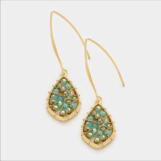 Glass bead droplet long fish hook earrings