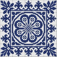 More square tiles - Chart for cross stitch or filet crochet. Biscornu Cross Stitch, Cross Stitch Borders, Cross Stitch Charts, Cross Stitch Designs, Cross Stitching, Cross Stitch Patterns, Crochet Chart, Filet Crochet, Crochet Motif