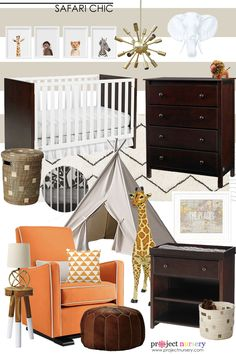 Enter to win a $25000 Fisher Price Registry Sweepstakes, including a dream nursery designed by Project Nursery in one of 4 designs, including this Safari Chic Nursery!