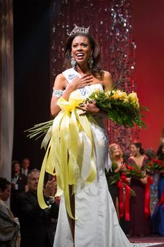 Miss North Texas Ivana Hall celebrates her moment of being crowned Miss Texas 2013