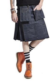 Saia Masculina Kilt Jeans Plissada- Compre já   King55 - KING55 Loja de roupas