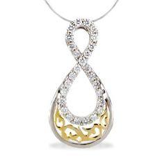 White and Yellow Gold Nalani Infinity Diamond Pendant (Chain Included) - Nalani Collection - #hawaiian and #island #lifestyle #jewelry more at www.nahoku.com