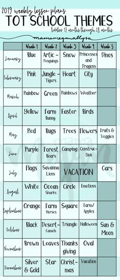 a chart that shows our 2019 tot school themes for each week of the year for a young toddler # toddler curriculum lesson plans 2019 Tot School Themes : Young Toddler Eddition - MamaMeganAllysa Daycare Lesson Plans, Lesson Plans For Toddlers, Daycare Curriculum, Childcare, Homeschooling, Preschool Learning Activities, Preschool Themes, Preschool Lessons, Preschool Readiness