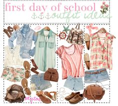 """""""First day of school outfit ideas """" I love the floral and pastel-ness! Cute Teen Outfits, Indie Outfits, Outfits For Teens, Cool Outfits, Summer Outfits, Fashion Outfits, First Day Of School Outfit, Back To School Outfits, Kinds Of Clothes"""