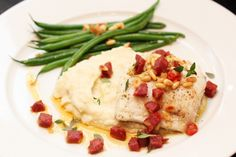 Ovnsbakt torsk med Tind speket pølse og blomkålpurè Fish Dishes, Risotto, Mashed Potatoes, Nom Nom, Seafood, Dinner, Salsa, Cooking, Ethnic Recipes