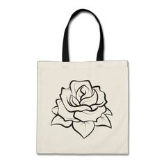 Floral BlacK And White Rose Flower Illustration Tote Bag - rose style gifts diy customize special roses flowers