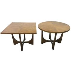 Pair Broyhill Brasilia Round And Square End Tables Mid-century Danish Modern c1960's