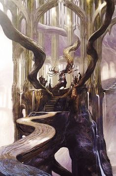 Concept art for Thranduil's Throne Room from The Hobbit: The Desolation of Smaug, Chronicles: Art & Design.