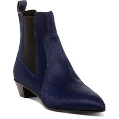 Marc by Marc Jacobs Lou Pointed Toe Genuine Calf Hair Chelsea Boot ($243) ❤ liked on Polyvore featuring shoes, boots, ankle booties, ink, chelsea ankle boots, calf hair booties, slip on booties, block heel booties and chelsea boots