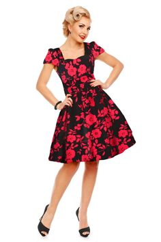 17d9acda36b315 Claudia Flirty Fifties Swing Floral Dress in Black Red