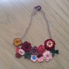 crochet necklace, svarosvski beads