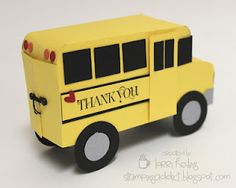 Confessions of a Stamping Addict: School Bus Gift Card Holder! the tutorial costs that is not bad so cute 3d Paper Crafts, Paper Toys, Paper Crafting, Teacher Appreciation Gifts, Teacher Gifts, Bus Driver Gifts, Kids Cards, Men's Cards, Greeting Cards