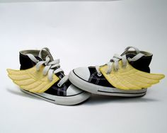 Black High Tops With Yellow Wings