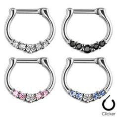 Jewelry & Watches Creative New Surgical Steel Round Paved Cz Crystal Gem Nose Septum Clicker Ring 14g 16g Body Piercing Jewelry