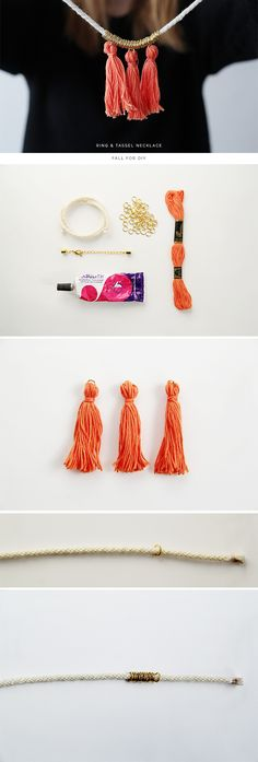 The best DIY projects & DIY ideas and tutorials: sewing, paper craft, DIY. Best DIY Ideas Jewelry: Fall For DIY Cord and Tassel Necklace tutorial via Galafti Galafti Galafti Galafti Galafti Stone -Read Diy Jewelry Rings, Diy Rings, Tassel Jewelry, Jewelry Crafts, Handmade Jewelry, Jewelry Making, Diy Jewellery, Homemade Jewellery, Diy Tassel