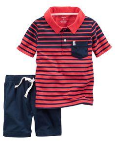 86a709ae 2-Piece Striped Polo & Canvas Short Set. Polo OutfitOutfit SetsCarters Baby  BoysToddler ...