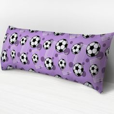 I wanted to share with you this Soccer Ball and Goal Pattern Purple Body Pillow or Cover? Do you like it?  | A soccer sports themed body pillow with unmatched support and comfort with either plush-fleece or soft microfiber. It is designed with a soccer pattern with soccer balls over white goal silhouettes and dark purple circles over a purple background. It's a great body pillow, or body pillow case, for people who love soccer and like the color purple. Get one today for yourself or as a…