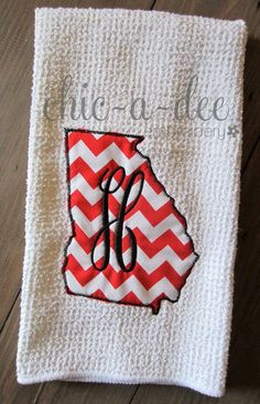 State Shape Kitchen Towel  Georgia w/ by ChicADeeEmbroidery, $12.00
