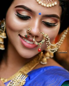 Septum Nose Rings, Fake Nose Rings, Beauty Full Girl, Beauty Women, Nose Jewels, Middle Eastern Makeup, Arabian Makeup, Bridal Jewelry Sets, Girls Makeup