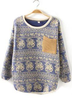 Can I have this?      Blue Floral Pockets Round Neck Cotton Blend Sweatshirt ($32.15/cichic.com)