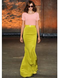 Christian Siriano knows his way around a poofy dress but for spring it's his slim-fit, floor-grazing, trumpet hem skirts that are the real showstoppers. Paired with a simple stripey tee, they create the perfect casual-meets-couture look.