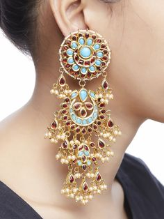 Intricately handcrafted Earrings ensured to give a contemporary traditional look. Fancy Jewellery, Indian Jewellery Design, Ethnic Jewelry, Indian Jewelry, Gold Plated Earrings, Gold Hoop Earrings, Beaded Earrings, Jewelry Design Earrings, Fashion Earrings