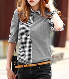 Stylish Long Sleeves Shirt Collar Plaid Shirt For Women