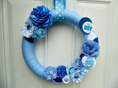 It's A boy Wreath , Blue Baby Announcement , Blue Door Wreath , Blue Yarn Wreath by ToothFairyWorks on Etsy https://www.etsy.com/listing/263248104/its-a-boy-wreath-blue-baby-announcement