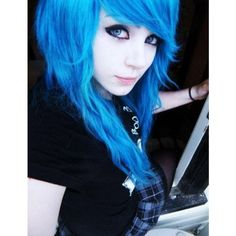 Cute Emo Girls With Blue Hair ❤ liked on Polyvore featuring hair, people, girls and hairstyles